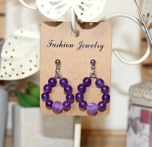 Purple agate beaded drop pendants earrings silver tone stainless steel