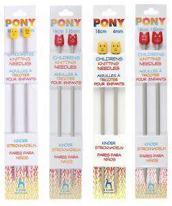Pony Children's Knitting Needles Aluminium Knit Pins Short 18cm x 3.25mm - 4.5mm
