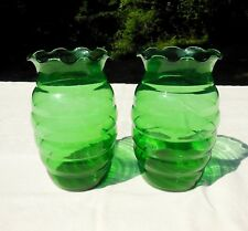 2 Anchor Hocking Forest Green Glass Crimped Whirly Twirly Vases