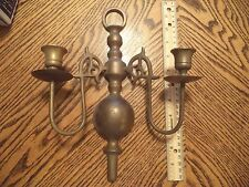 Vintage Brass Two Arm Candle Holder Wall Sconce