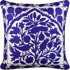 Tree of Life Birds Lapis Blue Accent Pillow Cover Handembroidered Wool 20x20""