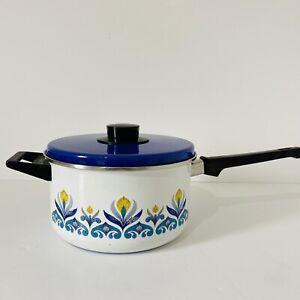 Vintage Retro Enamel Blue Yellow White  Floral Design Curran Saucepan & Lid 70s
