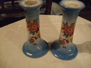 "Pair of attractive blue floral vintage ceramic candlesticks 5"" tall x 3"" base"