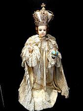 """21"""" Jesus Infant of Prague Statue Filigree Crown Jewels 2 Vestments Catholic vtg"""
