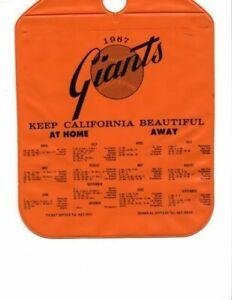 1967 San Francisco Giants Schedule on Vinyl Auto Trash Bag; Mint!
