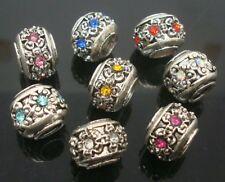Fashion Rhinestone Tibet Silver Round Hole Beads For European Charm DIY Bracelet