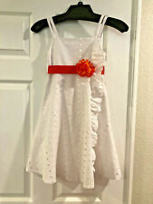 Bonnie Jean Dress Size 8 White Eyelet Orange Accent Ribbon