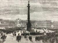 1856 Russian Royalty Antique Print Tsar Alexander II St Petersburg Winter Palace