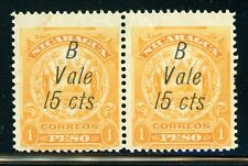 Nicaragua MH Bluefields Specialized: MAXWELL #LB155d x2 15c/1P in Pair $$$