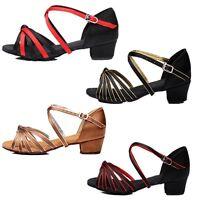 Girl Children Ladies Comfort Low Heel Dance Shoes Ballroom Latin Tango Waltz New