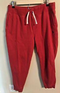 Ralph Lauren Sweatpants Classic Drawstring Pockets Size LARGE Red Navy Blue Pony