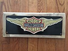Harley Davidson Motorcycles Motorcycle Milwaukee Iron Vintage Steel & Wood Sign