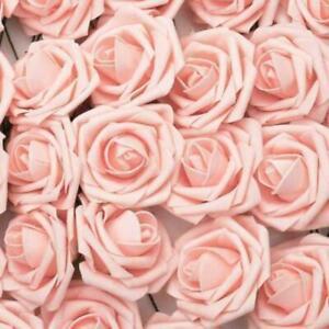 50Pcs Large 7CM Artificial Flowers Foam Rose Heads Decor Bouquet Party O5I6