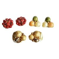 Vintage clip-on earring lot 3 pairs beaded clusters -- red, gold and green