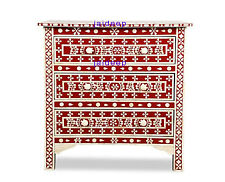 Handmade Latest Floral Design Bone Inlay Red Solid Wood Dresser 3 Drawer
