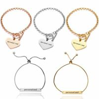 Personalized Stainless Steel Heart Name Engraved Bracelet Family Custom Gift DIY