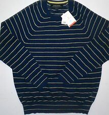 NWT Mens XL Banana Republic Italian Linen Blue Striped Crewneck Sweater