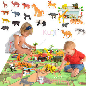27pcs Animal Toy Figures Playset with Hard Case & Trees Lion Tiger Giraffe Set