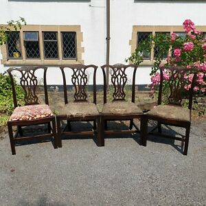 A Pretty Set of 4 Mahogany Chippendale Style Antique Chairs Seats Need Attention