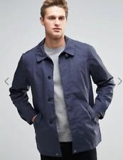 Parka London Men's Navy Oliver Weather Resistant Cotton Blend Rain Mac, XL