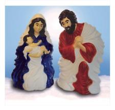 "28"" Lighted Outdoor Nativity Scene 2 Piece Set Blow Mold Christmas Decor"