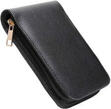 Fountain Roller Ball Pen Case Holder PU Leather Bag for 12 Pens Color Black