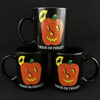 Set of 3 VTG Coffee Mugs 1989 by  Lillian Vernon Halloween Trick or Treat Black