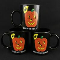 Set of 3 VTG Coffee Mugs 1989 by  Lillian Vernon Halloween Trick or Treat Black