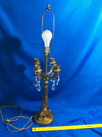 LARGE Antique/VTG Brass Lamp Candelabra Candle Stick Crystal Teardrop Victorian-