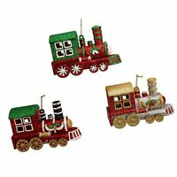 Set/3 Kurt Adler Glitter Train Engine Classic Christmas Tree Decor Ornaments