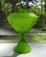 Indiana Glass Satin Lime Green Frosted Harvest Grape Compote with Cover