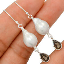 Rare Baroque Pearl & Smoky Topaz 925 Sterling Silver Earring Jewelry BE17029
