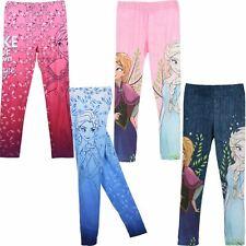 Girls Kids Disney Frozen Anna/Elsa Childrens Leggings Trousers Age 3-8 Years