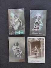 LOT de 4 CPA FANTAISIES FEMMES ENFANTS AVRIL NOEL BONNE ANNEE 1912