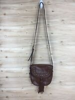 Fossil EMI Brown Pebbled Leather Saddlebag with Tassel, Crossbody Purse
