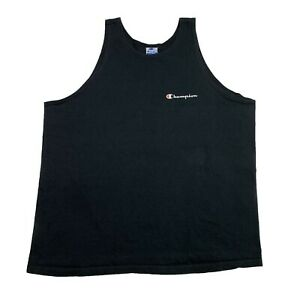 Vintage Champion Script Logo Tank Top Shirt Black Mens Size XL