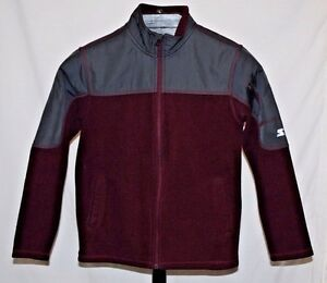 Burgundy Fleece Black Mixed Media Boys Full Zip Starter Jacket Size LRG (10-12)
