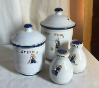 Ravello, Italian majolica, 2 canisters + salt pepper set. HP Farmer with donkey