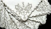 """12 Madeira Embroidery Linen Napkins 17"""", Taupe Embroidery Vintage, UNUSED w/Tags"""
