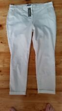sussan WHITE cotton elastane stretch  SUMMER  Pants size 18 + pockets NEW