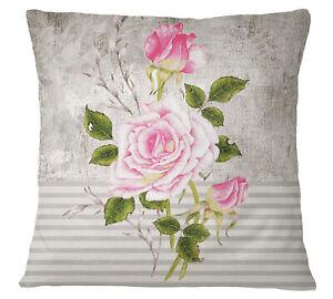 S4SassyThrow Pillow Case Floral Print Off White Square Cushion-fAg