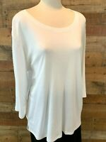 New~$34~HASTING & SMITH Women's 1X Plus White 3/4-Sleeve Cotton+ Lace Shirt Top
