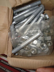 Hex Head Bolts & Nuts M12 x 90mm Gal box of 25 free post