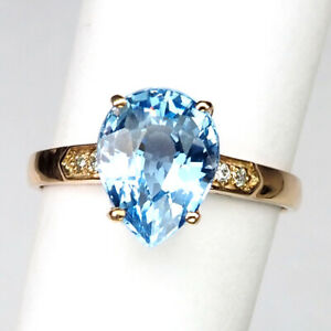 TOPAZ BABY BLUE PEAR 2.80 CT. SAPPHIRE 925 STERLING SILVER ROSE GOLD RING SZ 6.5