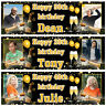 2 personalised birthday banner photo gold champagne stars balloon party poster