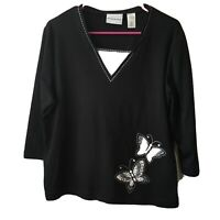 Alfred Dunner Black White Butterfly 3/4 Sleeve Pullover Women's Size Large