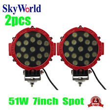 """2X 51W 7"""" Round LED Work Light Spot Driving Lamp Car Jeep Offroad ATV SUV Red"""