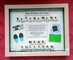 RETIREMENT Personalised FRAME PICTURE GIFT Keepsake Male Retire Scrabble