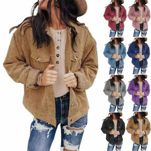 Women Loose Jacket Long Sleeve Pocket Fashion Casual Buckle Polyester Solid Coat