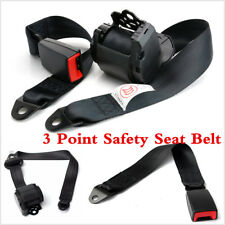 Automatic Retractable 3 Point Car Truck Safety Seat Belt Black Seatbelt Set Kit